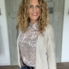 taupe kleurige dames blouse met print your personal shopper