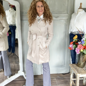 Blauw witte flared stretch broek your personal shopper