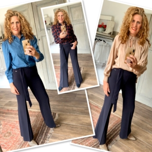 Donkerblauwe flared broek Your personal shopper