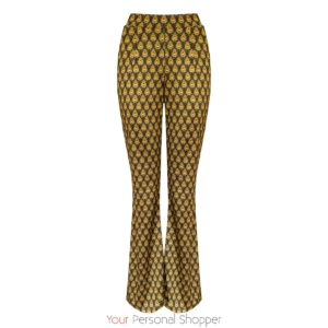 flared broek met retro print your personal shopper
