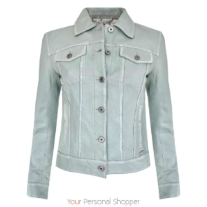 Leren jack licht blauw your personal shopper