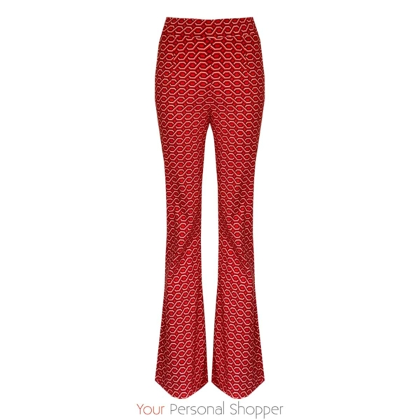 Flared broek met retro print rood Your Personal shopper