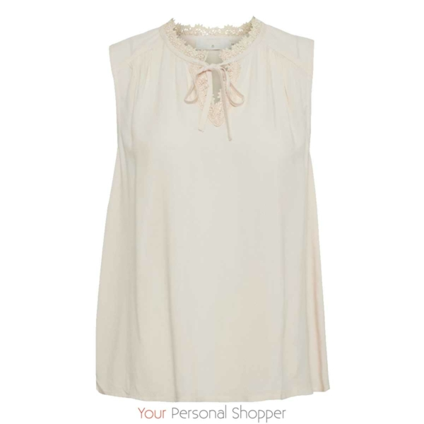 Creme topje zonder mouw Your Personal Shopper