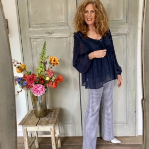 donkerblauwe dames blouse your personal shopper