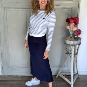 maxi rok donkerblauw t-shirt met bretonse streep your personal shopper