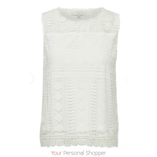 mouwloze witte kanten top Cream your personal shopper