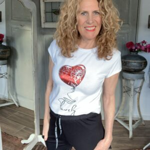 wit dames t-shirt met hart Your Personal shopper