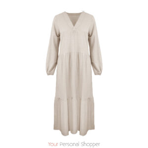 beige stroken jurk your personal shopper