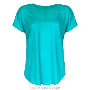 Aqua blauw linnen t-shirt your personal shopper