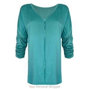 Oversized aqua dames top voor een maatje meer your personal shopper
