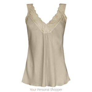 Beige basis top met kant your personal shopper