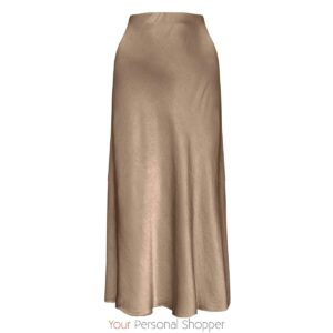 Camel Midi rok zijden viscose Your Personal shopper