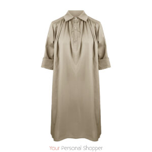 Beige lange dames blouse jurk your personal shopper