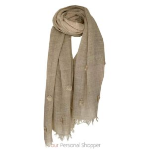 Viscose Beige dames shawl met applicatie Your Personal Shopper