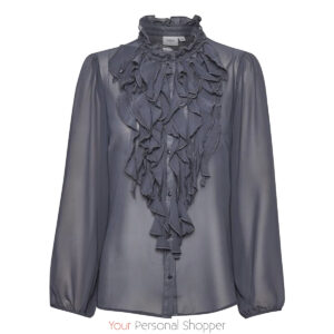 Blauwe dames blouse met roesjes Your Personal Shopper
