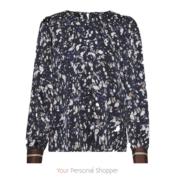 donker blauwe dames blouse met print Kaffe Your Personal shopper