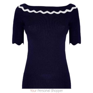Blauwe dames top met boothals your personal shopper