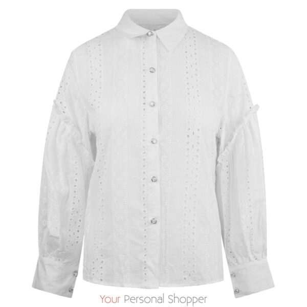 Witte dames blouse met lange mouw broderie Your Personal Shopper