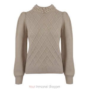 Beige dames truitje met parels Your Personal Shopper