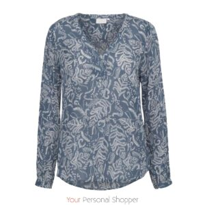 Licht blauwe dames blouse met witte print Cream Kaffe your personal shopper