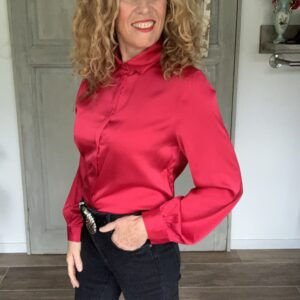 Rode viscose dames blouse met lange mouwen your personal shopper