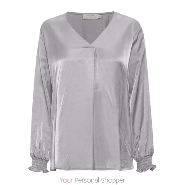 Licht grijze dames blouse met v-hals Cream your personal shopper