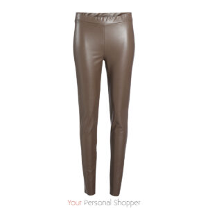 Bruine skinny lederlook dames broek Your Personal shopper