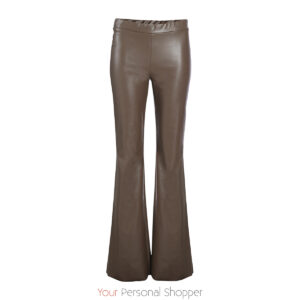 bruine lederlook flared dames broek your personal shopper