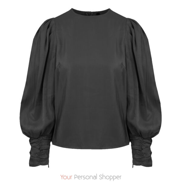 Zwarte dames blouse met pofmouw en een glans Your Personal Shopper