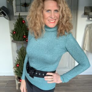 Blauwe dames col met glittertje Your Personal Shopper