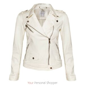 Stoer off white katoenen biker jack Your Personal shopper