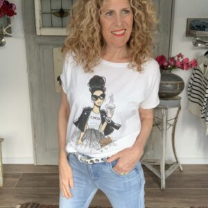 Wit dames t-shirt met coco Chanel Your Personal shopper