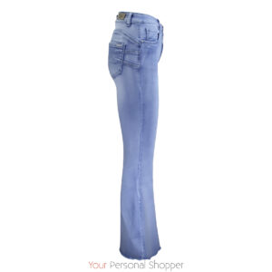 flared dames jeans met rafel randje Your Personal shopper