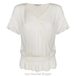 Witte dames blouse met v hals en kort mouwtje viscose Your Personal shopper