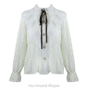 Off white kanten blouse met strikje Your Personal Shopper