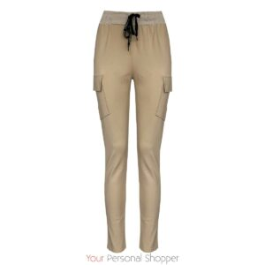 beige dames jogging broek met zijzakken Your Personal shopper