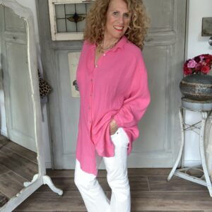 fel roze oversized dames blouse your personal shopper