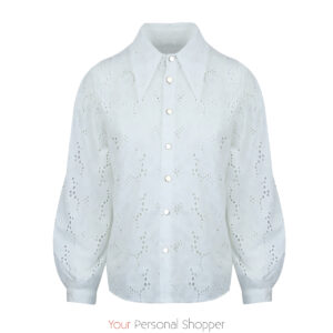 witte broderie dames blouse met muntkraag your personal shopper