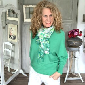 Groen dames shawl met print van viscose your personal shopper