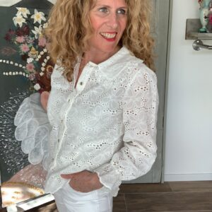 Witte broderie blouse met grote kraag your personal Shopper