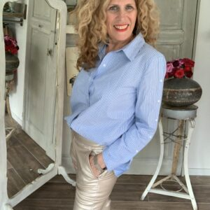 Blauw wit gestreepte dames overhemd blouse Your Personal Shopper