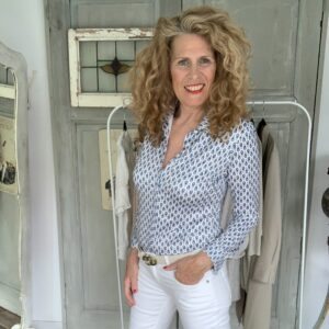 Dames travel blouse blauw wit Your Personal Shopper