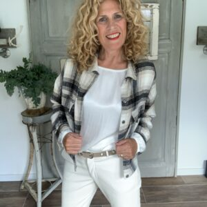 off white dames blouse met lange mouw viscose met zijden off white vegan leather chino Your Personal shopper